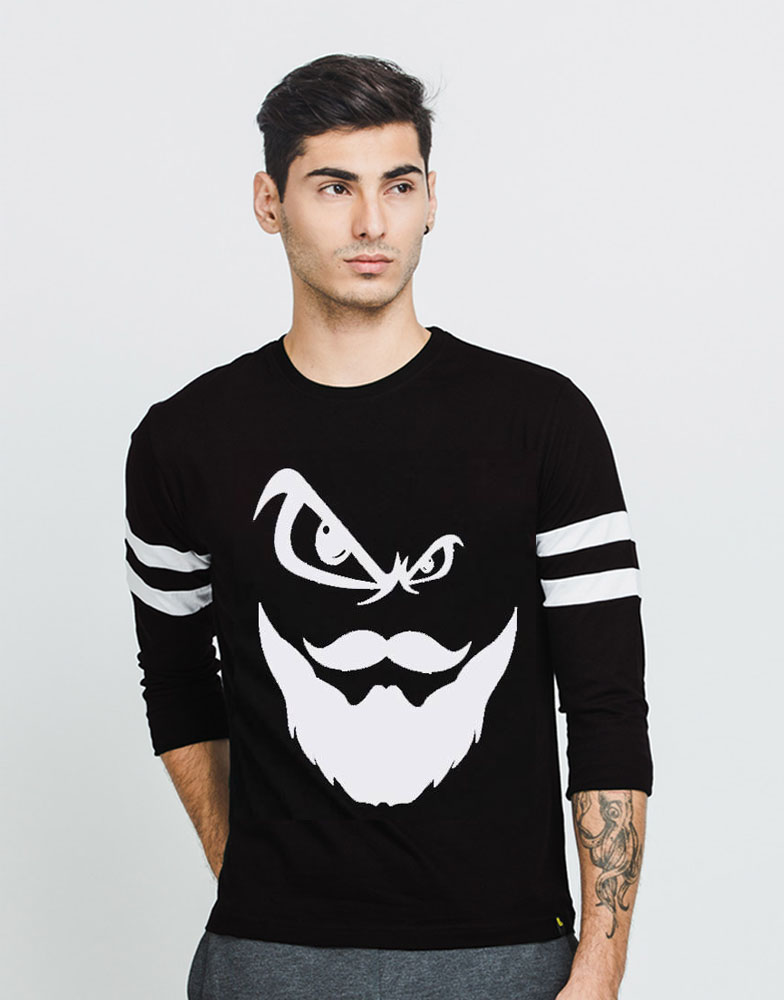 Black angry beard tee sa bazaar for Full sleeves t shirts for men